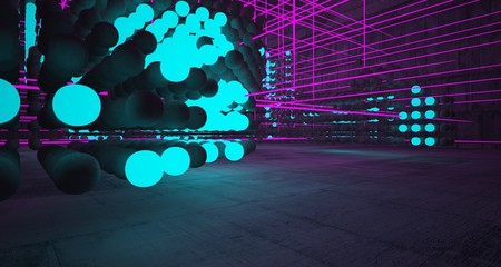 Abstract architectural concrete smooth interior from an array of spheres with color gradient neon lighting. 3D illustration and rendering. Fotoväggar