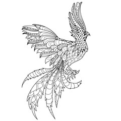 Hand drawn doodle illustration of flying Phoenix Bird.
