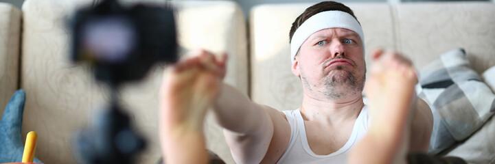 Funny Man Record Legs Stretching on Digital Camera
