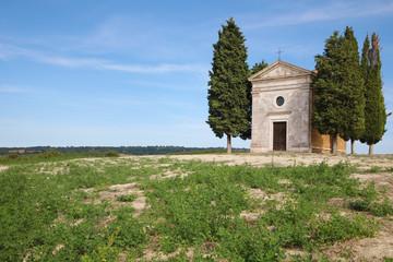 Chapel Vitaleta and cypresses in Tuscany, Italy