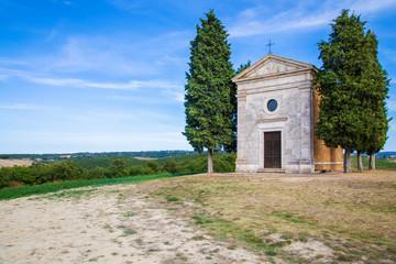 Chapel Vitaleta and cypress trees