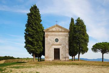 Picturesque chapel Vitaleta close to Pienza, Tuscany