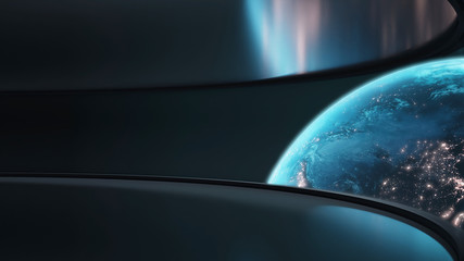 Wall Mural - 3D Rendering of planet earth with glowing light from cities and atmosphere. Wide angle view from space station with large curved glass window. Element of this image furnished by NASA.
