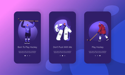Hockey Game Competition on Ice Rink Mobile App Page Onboard Screen Set. Player Hit Puck, Goalkeeper Protect Gates. Sports Tournament Concept for Website or Web Page, Cartoon Flat Vector Illustration