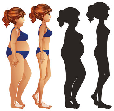 Skinny and fat women with sillhouette on white background