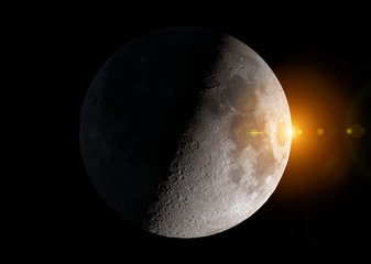 View of an half moon in space with stars 3D rendering elements of this image furnished by NASA