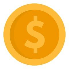 Dollar money coin icon. Flat illustration of dollar money coin vector icon for web design