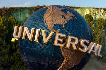 OSAKA - JAN 10: The famous Universal Globe and touristes at Universal Studios Osaka  theme park on January 10. 2017 in Japan