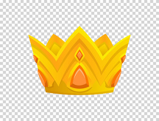 Gold crown icon. Crown awards for winners, champions, leadership. Vector isolated element for logo, label, game, hotel, an app design. Royal king, queen, princess crown.