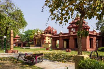 Side Buildings of Shri Laxminarayan Temple, Birla Mandir, Hindu Vishnu Temple in New Delhi, India, Asia.