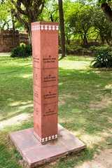 Bilingual Direction Stone of World Heritage Monument Humayun's Tomb in Delhi, India. Asia.