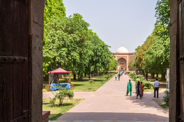 Bu Halima Gateway and West Entrance Portal to Humayun's Tomb and Square. UNESCO World Heritage in Delhi, India. Asia.
