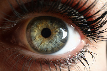 Human green eye supermacro closeup background Fototapete