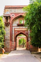 Bu Halima Gateway into Araba Sarai, south to pathway toward Humayun's Tomb. UNESCO World Heritage in Delhi, India. Asia.