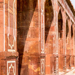 Close-up on Pillars of Main Building of Humayun's Tomb Complex. UNESCO World Heritage in Delhi, India. Asia.