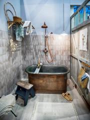 design of interior of bathroom in vintage style