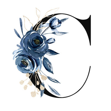 Floral alphabet, letter C with watercolor navy blue flowers and leaf. Monogram initials perfectly for wedding invitations, greeting card, logo, poster and other design. Holiday design hand painting.
