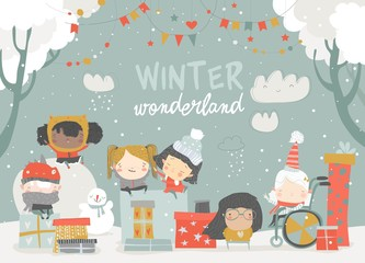 Cartoon different children enjoying winter. Hello snow