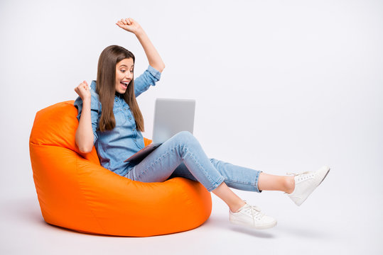 Profile side view of her she nice attractive lovely cute cheerful cheery girl sitting in bag chair using laptop celebrating success project start-up isolated over light white color background