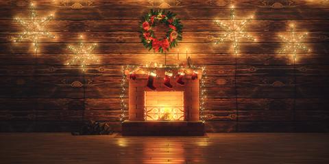 3D Rendering Christmas interior Fototapete