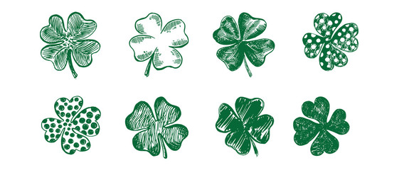 Clover set, hand drawn illustration. Patrick day.