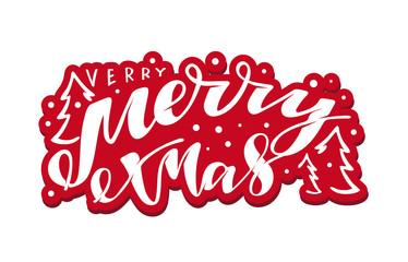 Very Merry Christmas - cute hand drawn doodle lettering postcard template banner