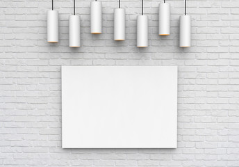 Poster mock up on brick wall with ceiling lamps, ready for design presentation, 3d illustration
