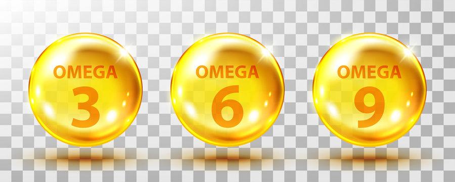 Vector realistic omega acids. Healthy food supplements fatty acid epa dha 3, 6 and 9 organic vitamin nutrient fish oil.