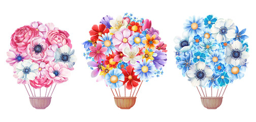 Watercolor holiday hot air balloons set. Decorated with flowers