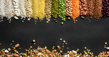 Dried Cereals and legumes colorful background