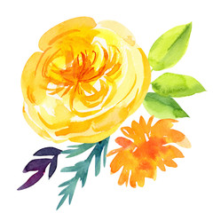 bouquet of beautiful abstract flowers on an isolated white background, watercolor illustration