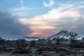 Mist rising over Karoo at dawn