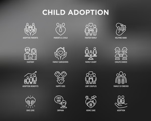 Child adoption thin line icons set: adoptive parents, helping hand, orphan, home care, LGBT couple with child, custody, caregivers, happy kid. Modern vector illustration for black theme.
