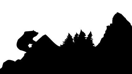 Silhouette Berg Bär Wald schwarz - Silhouette mountain bear forest black