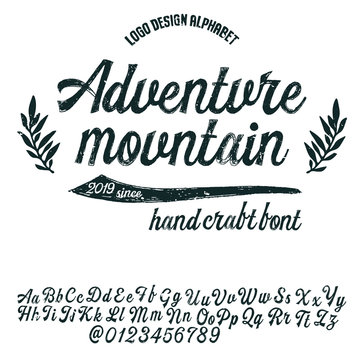 """""""Adventure Mountain"""" hand drawn  calligraphy display typeface on light background for projects,logotypes and headlines.Outdoor poster advertising inspired font.Letters and numbers.Vector illustration."""