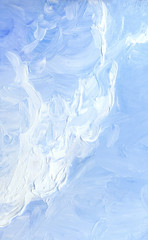 Oil painting. Blue sky with clouds