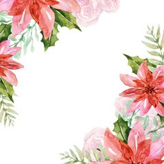 Christmas plant poinsettia watercolor colorful pink green red peach orange for holiday party greetind card and poster Hand painted traditional flower and plants