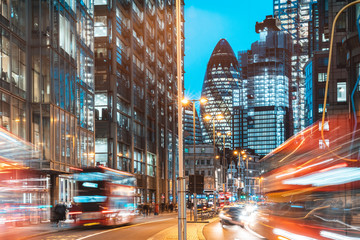 Zelfklevend Fotobehang London London city view traffic at night