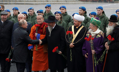 Russian President Putin and religious leaders attend a ceremony marking the National Unity Day in Moscow