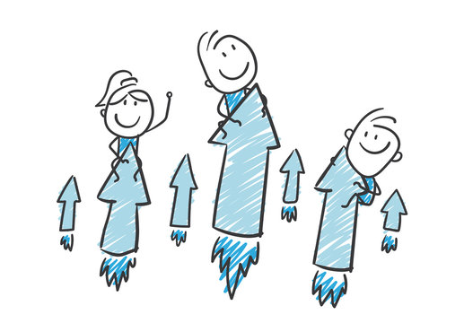 Stickman Blue: Startup, Rocket, Arrows. (Nr. 185)