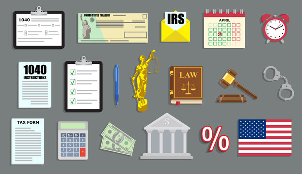 Tax period vector illustration set with IRS papers and judgement items in flat style