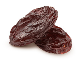 raisin isolated on white background, clipping path, full depth of field