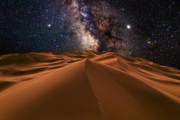 Amazing views of the Sahara desert under the night starry sky. Wall mural