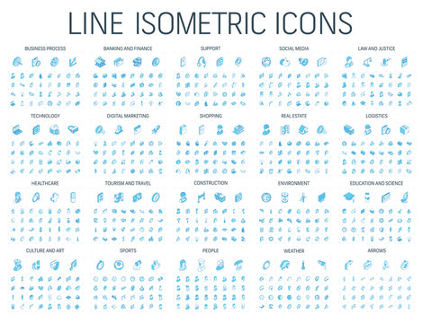 Vector illustration of isometric line icons for business, bank, social media market, logistics, internet technology, shop, education, sport, healthcare, art and construction. Blue 3d web symbols set.