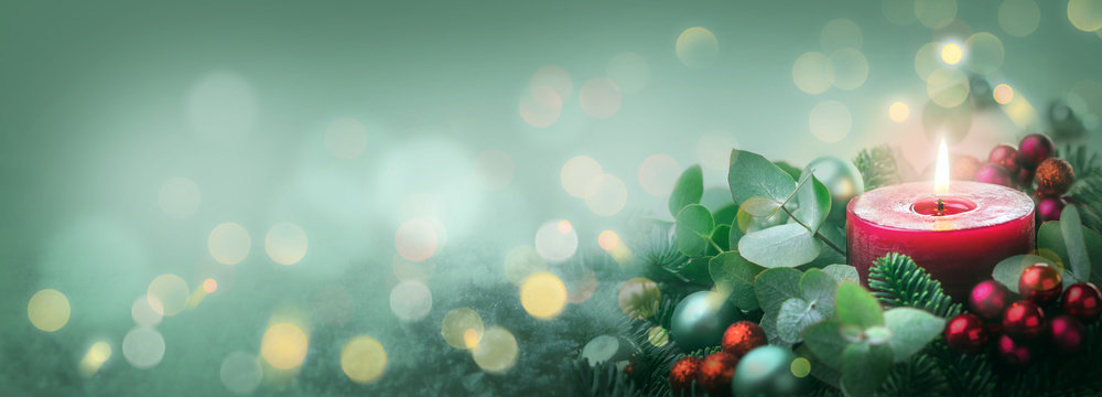Burning Advent Candle  -  Abstract Christmas Background
