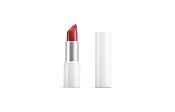 Blank white opened and closed tube with red lipstick mockup