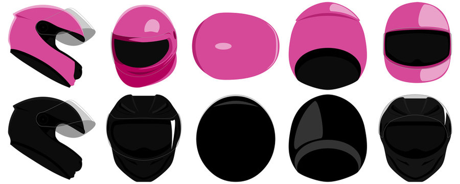 Set of full face integral type of motorcycle helmets with clear visor side, top, back, front view isolated vector illustration
