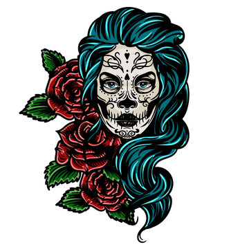 Vector hand drawn colorful tattoo illustration of skull girl with roses. Skull sugar flower. Skull tattoo isolated on white.Day Of The Dead Skull.