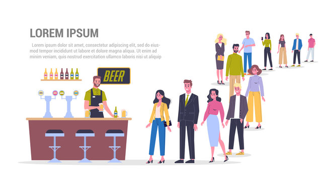 Vector illustration of big queue of people standing towards a bar to buy