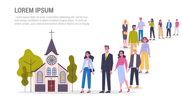 Vector illustration of big queue of people standing towards a church